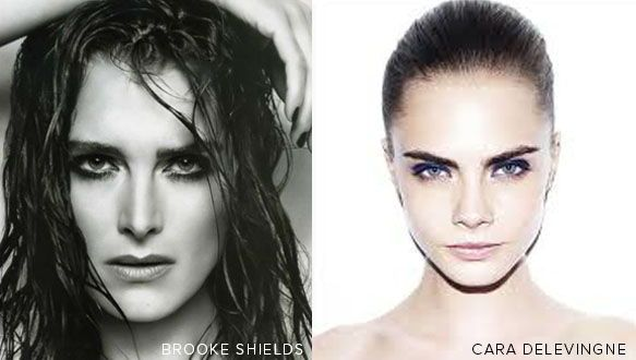 Cara Delevingne is the new poster child for bold brows, as Brooke Shields was in the 1980's.